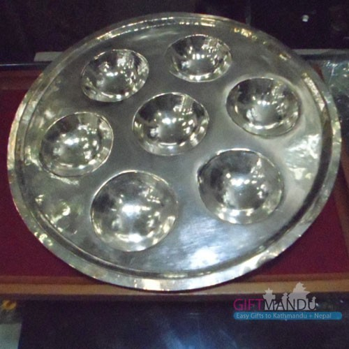 Silver Plain Puja Thali - Send Gifts To Nepal