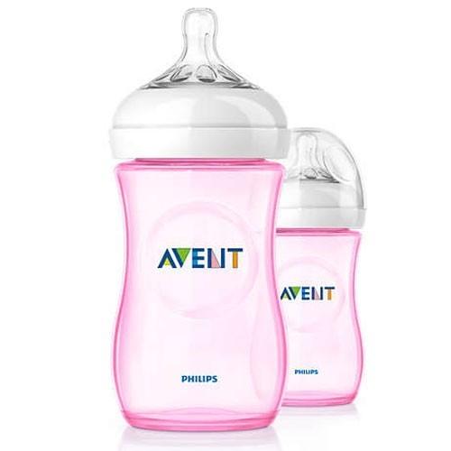 PHILIPS AVENT Natural Baby Feeding Bottle Double Pack 2x 260 ml Rose SCF694//27