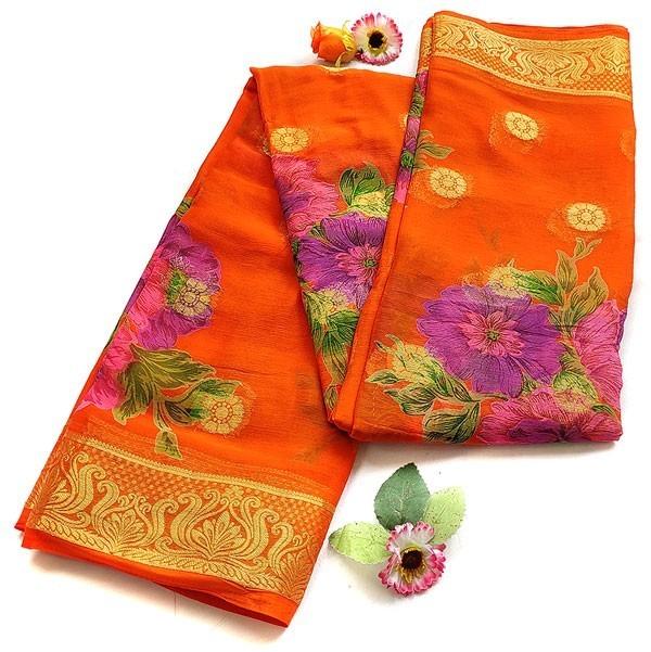 Www Banarasisareeinnepal: Orange Chiffon Saree With Banarasi Print
