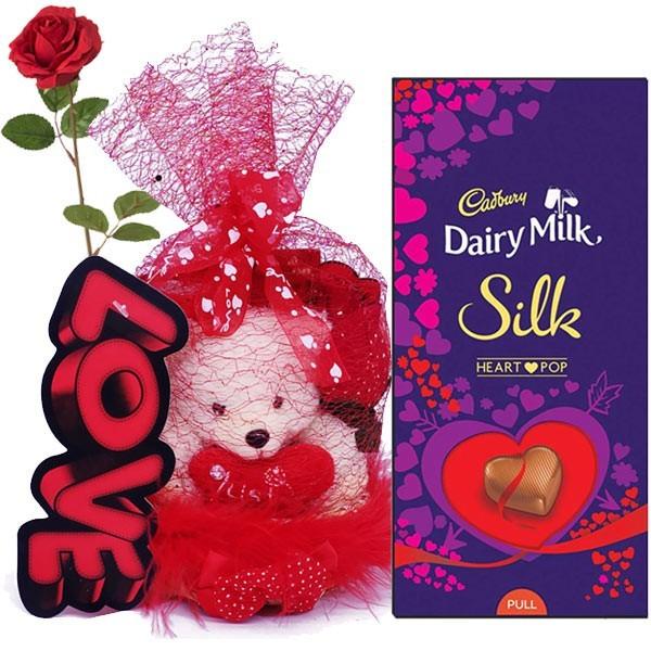 Love Teddy Bag Heart Pop Dairy Milk Silk Chocolate Free Rose Giftmandu Gifts To Nepal