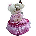 Lovely Pink Heart Jewellery Box Couple Teddy Dancing on top