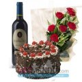 Cake 1kg, Sweet Wine and Rose Flowers