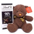 Brown Teddy Bear With Lindt 90% Cocoa Supreme Dark Chocolate