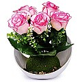 Artificial Pink Roses Bunch in a Beautiful Vase