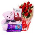Chocolates Combo With Roses & Pink Teddy Bear