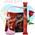 Table Lamp, Lindt Lindor Chocolates (With Free Rose)