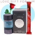 Aladdin's Lamp Perfume, Lindt Lindor Stick Chocolate (With Free Rose) for Him