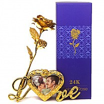 24K Gold Foil Rose With Love Stand Frame