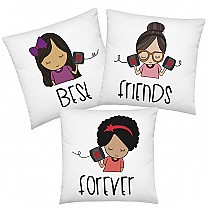 ''Best Friends Forever'' Printed Combo Cushion Gift (Set of 3)