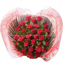 Flowers (Fresh 30 Red Roses Arranged on Heart Bamboo Basket)