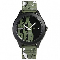 Fastrack Black Dial Green Strap Unisex Watch - 38003PP17