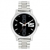 Fastrack Black Dial Stainless Steel Strap Watch- 38051SM04