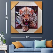 3D Leopard Wall Decor Painting Print 16''