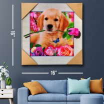 3D Puppy With Rose Attractive Painting Print 16''
