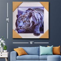 Wall Decor 3D White Tiger Painting Print 16''