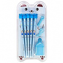 5 In 1 Pencil Gift Set For Kids - Blue