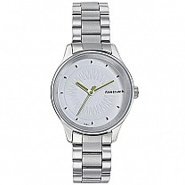 Fastrack White Dial Stainless Steel Strap Watch for Women - 6203SM01