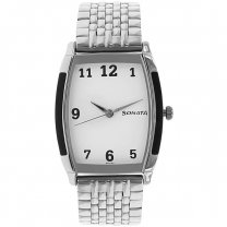 Sonata White Dial Stainless Steel Strap Watch For Men - 7080SM01
