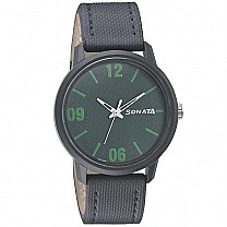 Sonata Green Dial Leather Strap Watch For Men - 77085PL04