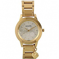 Sonata Charmed Golden Dial Analog Watch For Women - 87019YM01