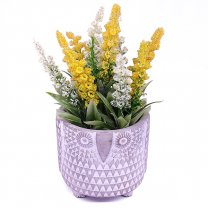 Artificial Yellow lupine flower in Owl Shaped Vase