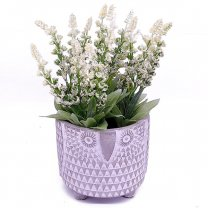 Artificial White lupine flower in Owl Shaped Vase