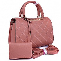 Susen Pink Ladies Hand Bag With Purse