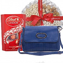 Lindt Assorted Chocolates, Nuts Tray & Ladies Side Bag