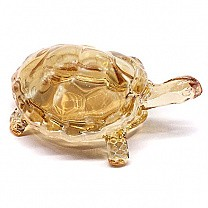 Crystal Clear Glass Tortoise - Gold (Goodluck Gift)