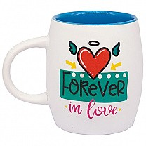 """Forever In Love"" Ceramic Coffee Mug - Blue"