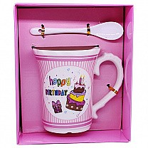 ''Happy Birthday'' Printed 4.5'' Pink Ceramic Mug With Spoon (02)