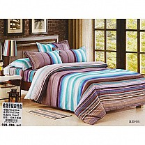 Bed Sheet with Two Pillow & Quilt Cover Set - Striped Design