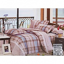 Bed Sheet with Two Pillow & Quilt Cover Set - Check Pattern