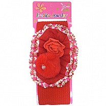 Beautiful Floral Design Baby Headband - Red