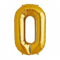 "Foil Balloon Number ""0"" Zero Golden & Silver"