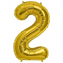 "Foil Balloon Number ""2"" - Bright Golden & Silver"