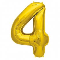 """Foil Balloon Number """"4"""" - Bright Golden & Silver"""