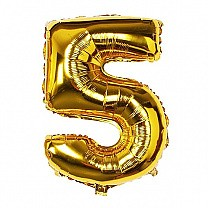 "Foil Balloon Number ""5"" - Bright Golden"