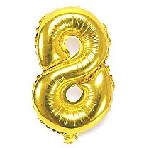 "Foil Balloon Number ""8"" - Bright Golden"