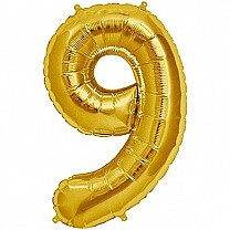 "Foil Balloon Number ""9"" - Bright Golden"