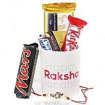 Beautiful Happy Raksha Bandhan Mug with Rakhi Thread and Chocolates