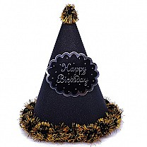 Black ''Happy Birthday'' Printed Party Hat
