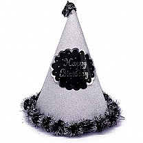 Silver ''Happy Birthday'' Printed Party Hat