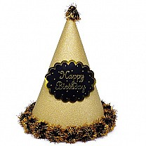 Golden ''Happy Birthday'' Printed Party Hat