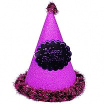 Pink ''Happy Birthday'' Printed Party Hat