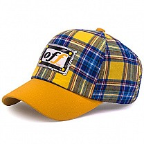 Check Design Cap For Kids - Yellow