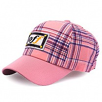 Check Design Cap For Kids - Pink