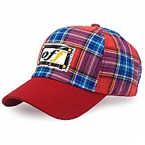 Check Design Cap For Kids - Red