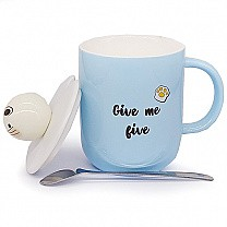 'Give Me Five' Printed Ceramic Mug with Lid and Spoon