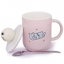 Cat Ceramic Coffee Mug with Lid and Spoon - Pink